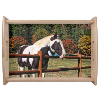 HORSE AN RAIL FENCE SERVING TRAY