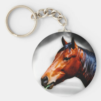 Horse and a blade of grass basic round button keychain