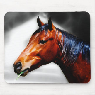 Horse and a blade of grass mouse pad