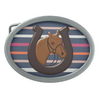 Horse and a Horseshoe Belt Buckle