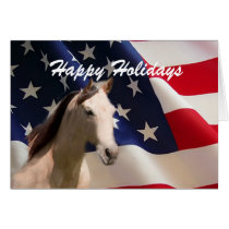 Horse and American Flag Christmas Card
