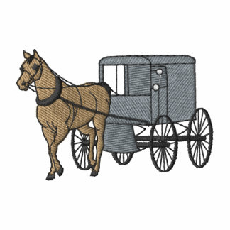 Horse and Amish Cart Embroidered Polo Shirt