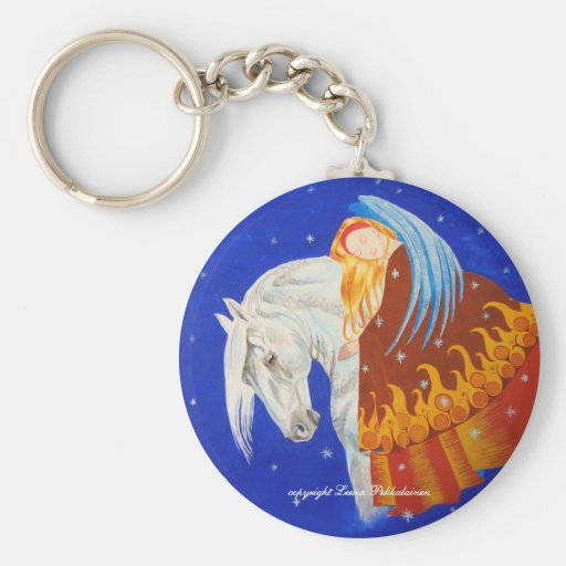Horse and Angel Basic Round Button Keychain