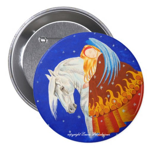 Horse and Angel Button