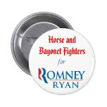 Horse and Bayonet Fighters for Romney/Ryan Pinback Buttons