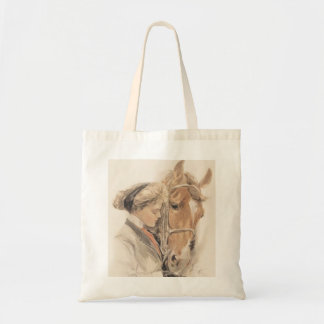 Horse and Beautiful Lady Vintage Tote Bag