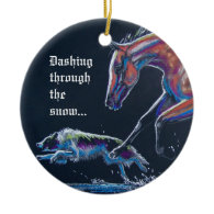 Horse and Border Collie Ornament