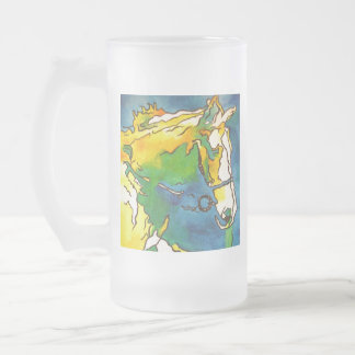 Horse and Bridle Frosted Glass Beer Mug