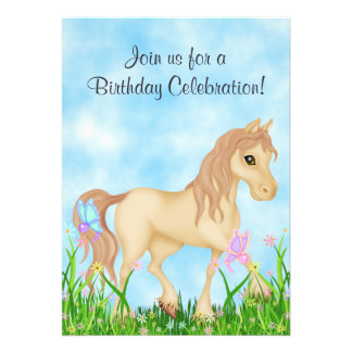 Horse and Butterflies Birthday Invitation