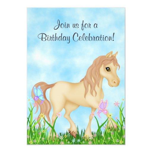 "Horse and Butterflies Birthday Invitation 5"" X 7"" Invitation Card"