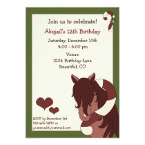 Horse and Candy Cane Holiday Birthday Invitation
