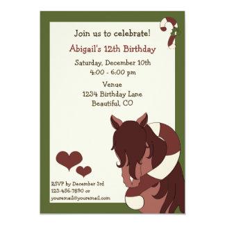 Horse and Candy Cane Holiday Birthday Invitation