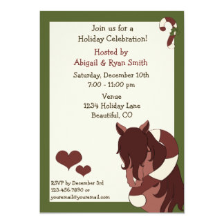 Horse and Candy Cane Holiday Party Invitation