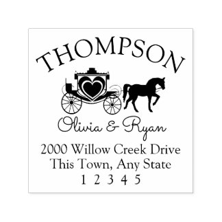 Horse and Carriage Address Self-inking Stamp