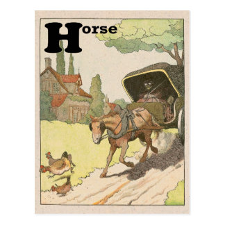 Horse and Carriage Alphabet Postcard