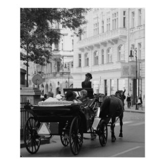 Horse and Carriage B/W Poster