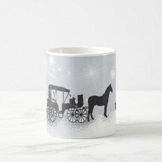 Horse and Carriage, Bird Christmas Mug