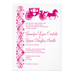 Horse and Carriage Hot Pink Wedding Invitations