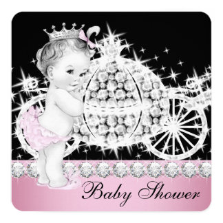 Horse and Carriage Pink Princess Baby Shower Card