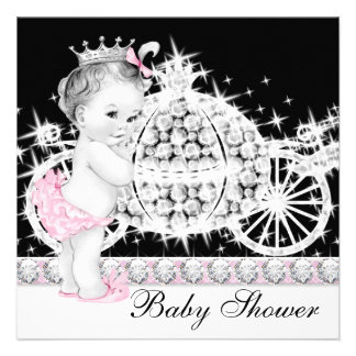 Horse and Carriage Pink Princess Baby Shower Custom Invite