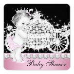 Horse and Carriage Pink Princess Baby Shower Announcements