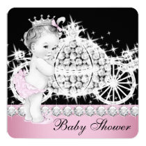 Horse and Carriage Pink Princess Baby Shower Invitation