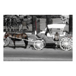Horse and Carriage Print in Red Stroke Photo Art