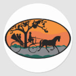 Horse and Carriage Ride Classic Round Sticker