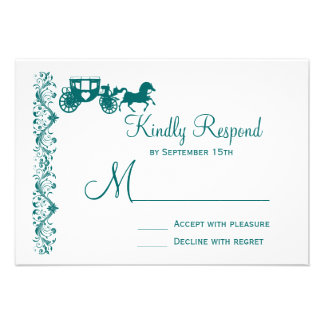 Horse and Carriage Teal Blue Wedding RSVP Cards