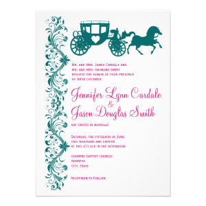 Horse and Carriage Teal Magenta Wedding Invitation