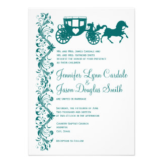 Horse and Carriage Teal Wedding Invitations Personalized Announcements
