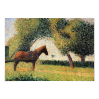 Horse and Cart by Georges Seurat 3.5x5 Paper Invitation Card