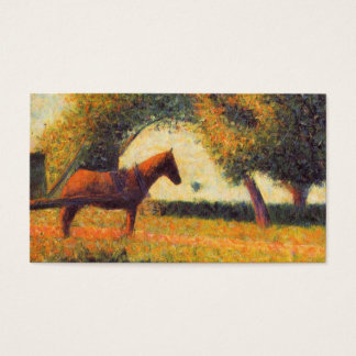 Horse and cart painting pointillist art Seurat Business Card