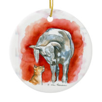 Horse and Cat Ceramic Ornament