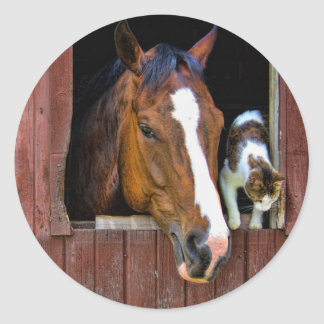 Horse and Cat Classic Round Sticker