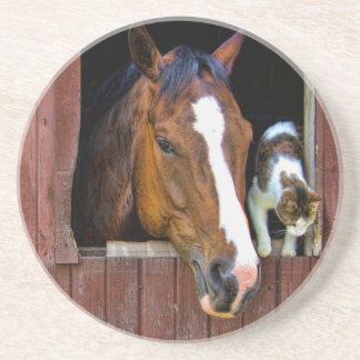 Horse and Cat Drink Coaster