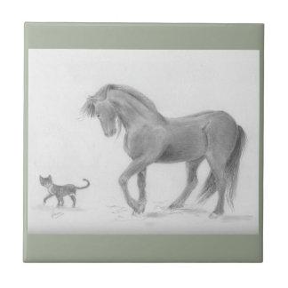 horse-and-cat-friends-pencil-art-gunilla-wachtel-1 tile