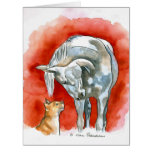 Horse and Cat Large Greeting Card