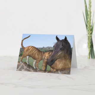 Horse and cat, Love Thy Neigh-Purr Greeting Card
