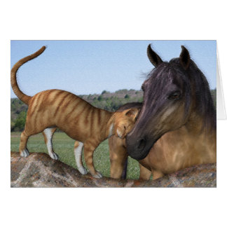 "Horse and cat, ""Love Thy Neigh-Purr"" Greeting Card"