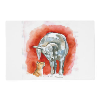 Horse and Cat Laminated Place Mat