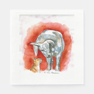 Horse and Cat Standard Luncheon Napkin