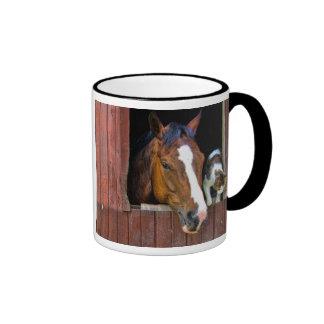 Horse and Cat Ringer Mug