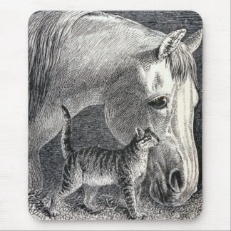 Horse and Cat Vintage Illustration Mouse Pad