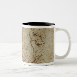 Horse and Cavalier (pen and ink on paper) Two-Tone Coffee Mug