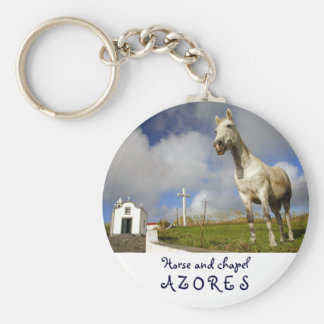 Horse and chapel basic round button keychain