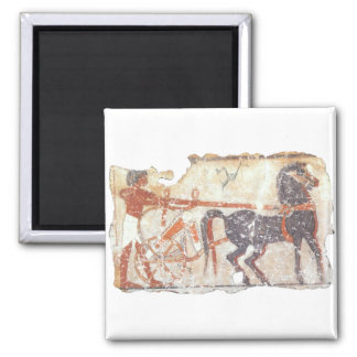 Horse and Chariot 2 Inch Square Magnet