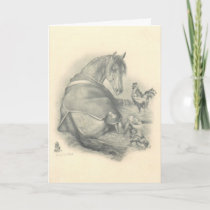 Horse and Chickens, Christmas Holiday Card