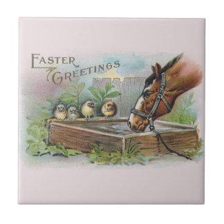 Horse and Chicks Vintage Easter Ceramic Tile