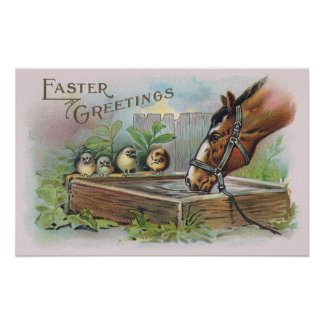 Horse and Chicks Vintage Easter Posters